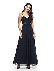 cheap -A-Line Spaghetti Straps Ankle Length Chiffon Prom Dress with Pleats by TS Couture®