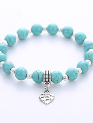 cheap -Men's Women's Strand Bracelet Hologram Bracelet Yoga Bracelet Birthstones Fashion European Costume Jewelry Turquoise Alloy Jewelry For