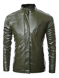 Men's Daily Casual Leather JacketsSolid Stand Long Sleeve Fall / Winter Black PU Thick Hot Sale High Quality Brand Fashion
