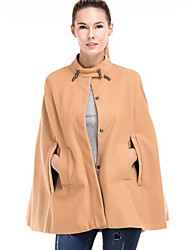 Women's Casual/Daily Vintage / Simple CoatSolid Stand Beaded Loose Cloak Long Sleeve Spring / Winter Medium