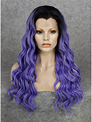 IMSTYLE 24''Fashion Purple Water Wave Synthetic Lace Front Wigs Heat Resistant With Black Root