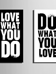 cheap -E-HOME® Stretched Canvas Art Letter Decorative Painting Set of 2