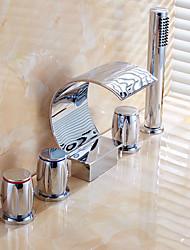 doccetta in dotazione con valvola di ceramica tre maniglie cinque fori per Chrome, rubinetto di vasca da bagno