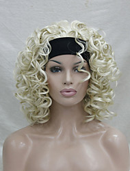 New Fashion 3/4 wig With Headband  Pale Blonde Curly Short Synthetic Half Wig