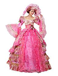billige -Rokoko Victoriansk Kostume Dame Kjoler Festkostume Maskerade Vintage Cosplay Blonde Bomuld Gulvlang Lang Længde Halloween Kostumer / Blomstret