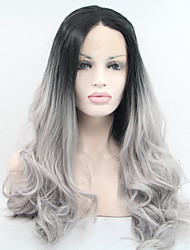 Sylvia Synthetic Lace front Wig Black Roots Grey Hair Heat Resistant Long Natual Wave Ombre Synthetic Wigs