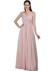 a-line одно плечо длиной до пола шифоновое платье невесты с бисером по xfls