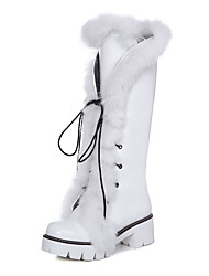Women's Boots Summer Ankle Strap Fur PU Office & Career Casual Athletic Chunky Heel Lace-up White Black Silver Walking