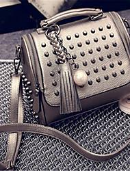 economico -Donna Sacchetti PU (Poliuretano) Borsa a tracolla Perle per Casual Per tutte le stagioni Nero Argento Bronzo