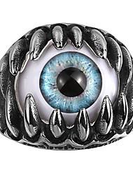 billige -Herre Kvadratisk Zirconium Ring - Dødningehoved Personaliseret, Europæisk, Gotisk 8 / 9 / 10 Blå Til Bryllup / Fest / Daglig