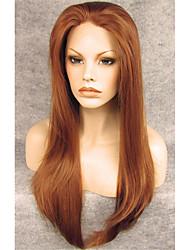 Недорогие -Парики из искусственных волос Прямой Коричневый Темно-рыжий Искусственные волосы Коричневый Парик Лента спереди