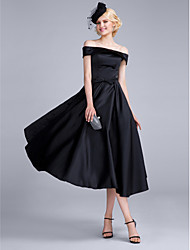 cheap -A-Line Off-the-shoulder Tea Length Polyester Satin Chiffon Cocktail Party Prom Dress with Bow(s) by Huaxirenjiao