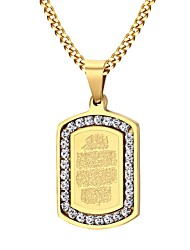 cheap -Men's AAA Cubic Zirconia Pendant Necklace  -  Stainless Steel, Zircon, Gold Plated Fashion Golden Necklace For Party, Daily, Casual