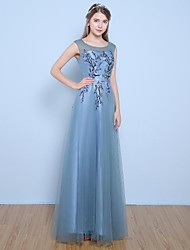cheap -A-Line Illusion Neckline Floor Length Satin Tulle Formal Evening Dress with Flower(s) Pearl Detailing by Yaying