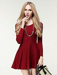 Women's Going out / Casual/Daily Simple / Street chic Bodycon DressSolid Pleated Slim Knit Round Neck Above Knee Long Sleeve