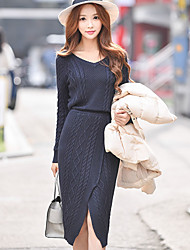 Women's Party Going out Casual/Daily Vintage Street chic Sophisticated Bodycon Sheath Sweater Dress,Solid V Neck Knee-length Long Sleeves