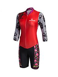 abordables -Malciklo Maillot de Ciclismo con Shorts Mujer Manga Larga Bicicleta Ropa de Compresión triatlón/Mono Triatlón Hombre Sets de Prendas