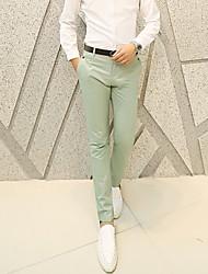 Hombre Casual Tiro Medio Microelástico Corte Recto Chinos Pantalones,Un Color Algodón Verano Todas las Temporadas