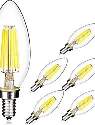 cheap -6pcs 5W 560 lm E14 LED Filament Bulbs C35 6 leds COB Warm White Cold White AC 220-240 V