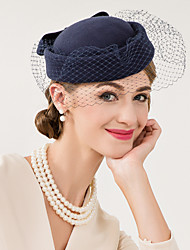 cheap -Wool Net Fascinators Hats Headwear with Floral 1pc Wedding Special Occasion Casual Headpiece