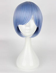 cheap -Cosplay Wigs Cosplay Cosplay Blue Short Anime Cosplay Wigs 35cm CM Heat Resistant Fiber Female