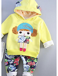 Girls' Casual/Daily Print Sets,Cotton Fall Winter Clothing Set
