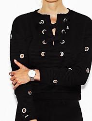 preiswerte -Damen Pullover Lässig/Alltäglich Solide Rundhalsausschnitt Mikro-elastisch Baumwolle Elasthan Langarm Herbst Winter