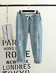 Women's Mid Rise Micro-elastic Jeans Pants,Simple Loose Ripped Solid