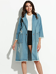 cheap -Women's Going out Cotton Denim Jacket-Solid Colored