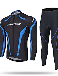 cheap -XINTOWN Cycling Jersey with Tights Men's Long Sleeves Bike Jersey Pants / Trousers Tracksuit Zip Top Fleece Jacket Top Clothing Suits