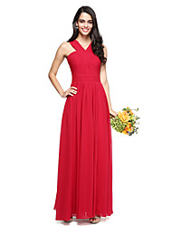 cheap -A-Line Y-Neck Cross-Front Floor Length Chiffon Bridesmaid Dress with Ruched Criss Cross by LAN TING BRIDE®