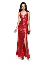Sheath / Column Straps Floor Length Sequined Formal Evening Dress with Beading Split Front by TS Couture®