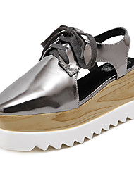cheap -Women's Clogs & Mules Summer Slingback PU Casual Wedge Heel Lace-up Black White Silver