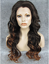 IMSTYLE 24''Popular Ntural Looking Black Brown Mix Long Wave Synthetic Lace Front Wigs Heat Resistant