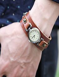 Men's Kids' Fashion Watch Bracelet Watch Quartz Punk Leather Band Vintage Skull Bohemian Bangle Brown