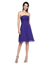 A-Line Strapless Knee Length Chiffon Bridesmaid Dress with Sash / Ribbon by LAN TING BRIDE®