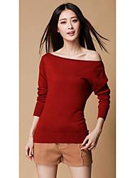 preiswerte -Damen Kurz Pullover-Lässig/Alltäglich Einfach Solide Rosa / Rot / Weiß Bateau Langarm Polyester Herbst Mittel Mikro-elastisch