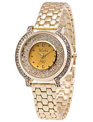 Mulheres Relógio de Moda Relógio de Pulso Relógios Femininos com Cristais Quartzo / Aço Inoxidável Banda Elegantes Legal Casual Dourada