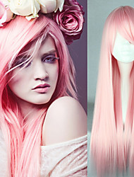 cheap -Synthetic Wig / Cosplay & Costume Wigs Straight Pink Synthetic Hair Heat Resistant Pink Wig Women's Capless / Yes