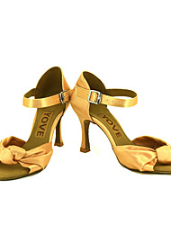 cheap -Women's Latin Shoes / Salsa Shoes Silk / Satin Sandal / Heel Performance / Professional Buckle / Ribbon Tie Customized Heel Customizable