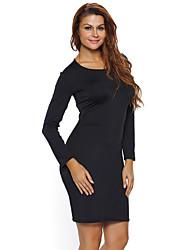 Moulante Robe Femme Sortie / Soirée Sexy,Couleur Pleine Col Arrondi Mini Manches Longues Noir Polyester / Spandex Eté Taille Haute