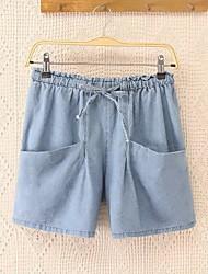 preiswerte -Damen Freizeit Mittlere Hüfthöhe Mikro-elastisch Gerade Jeans Hose, Polyester Sommer Solide