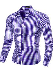 Недорогие -Муж. Рубашка Классический воротник Тонкие Шинуазери (китайский стиль) Однотонный