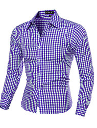 cheap -Men's Slim Shirt - Plaid Print Classic Collar / Long Sleeve