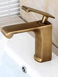 cheap -Bathroom Sink Faucet - Pre Rinse Waterfall Widespread Antique Copper Centerset Single Handle One Hole