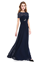 cheap -A-Line Bateau Neck Floor Length Chiffon Lace Mother of the Bride Dress with Beading Ruched Criss Cross by LAN TING BRIDE®