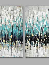 Pintados à mão Abstracto Pinturas a óleo,Modern / Realismo 2 Painéis Tela Hang-painted pintura a óleo For Decoração para casa