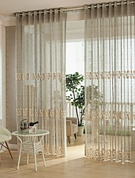cheap -Rod Pocket One Panel Curtain European, Hollow Out Bedroom Polyester Material Sheer Curtains Shades Home Decoration