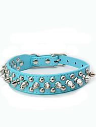 baratos -Cachorro Colarinho Retratável Com Tachas Pedra PU Leather Azul Escuro Marron Vermelho Azul Rosa claro