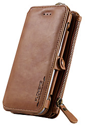 cheap -For Samsung Galaxy S7 Card Holder Wallet with Stand Case Full Body Case Solid Color Hard Genuine Leather S6 edge plus S6 edge S6